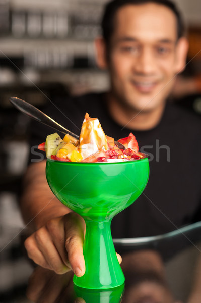Fruit cocktail served in presentable glass bowl Stock photo © stockyimages