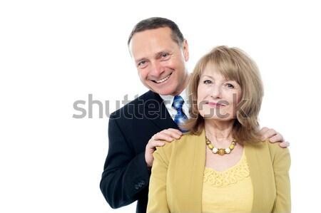 Foto stock: Ancianos · Pareja · sonriendo · maduro · hombre · de · negocios
