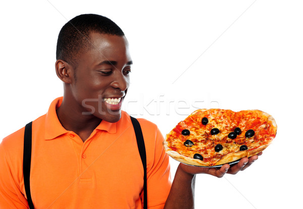 Hey lets enjoy some yummy pizza Stock photo © stockyimages