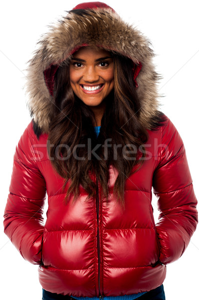 Beautiful girl wearing winter jacket Stock photo © stockyimages