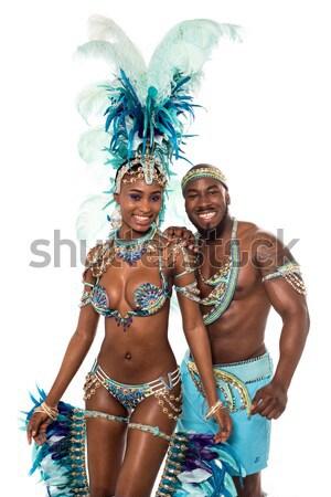 Africano carnaval dançarina posando mulher isolado Foto stock © stockyimages