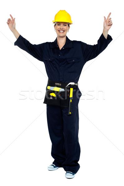 笑みを浮かべて 女性 ワーカー 手 歓喜 ストックフォト © stockyimages