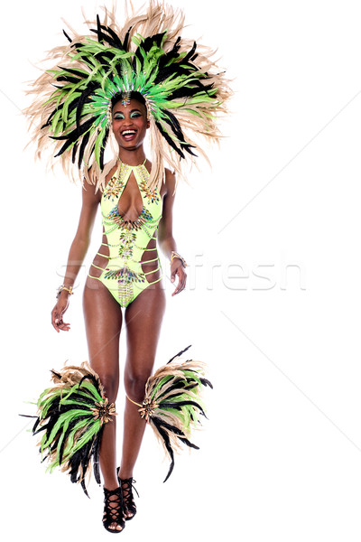 Stock fotó: Afrikai · karnevál · fehér · teljes · alakos · szamba · táncos