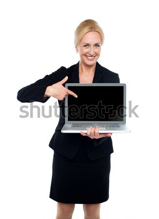 Business lady indicating towards laptop screen Stock photo © stockyimages