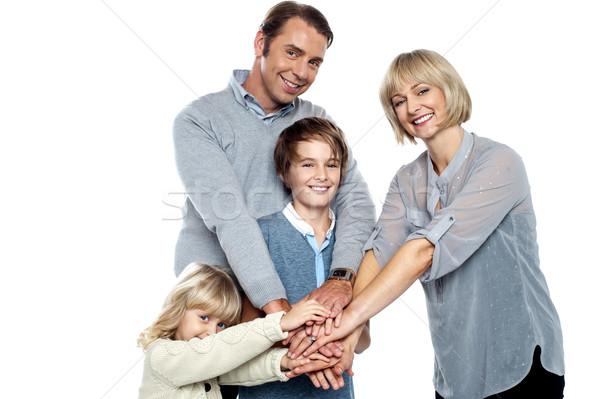 Familie voor altijd ondersteuning geïsoleerd witte vrouw Stockfoto © stockyimages