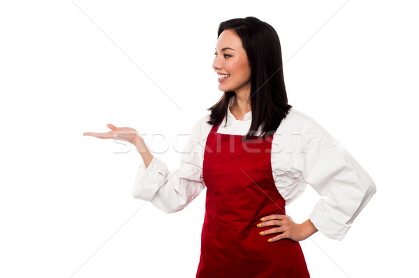 Female chef promoting bakery product Stock photo © stockyimages