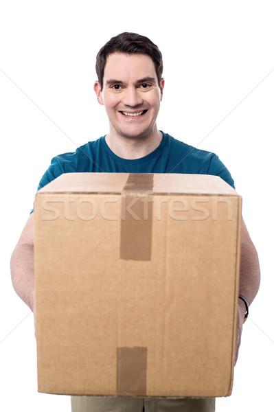 Stock foto: Paket · lächelnd · Mann · Karton · Lieferung