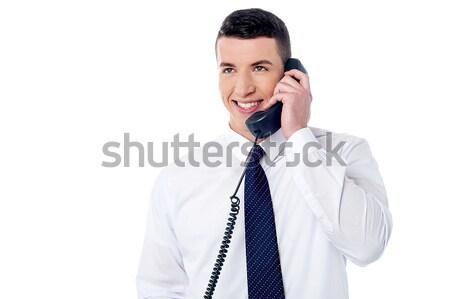 Uśmiechnięty kierownik klienta zawodowych rozmowa telefoniczna Zdjęcia stock © stockyimages