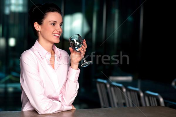 ストックフォト: 美しい · 企業 · 女性 · 飲料水 · かなり · 女性実業家