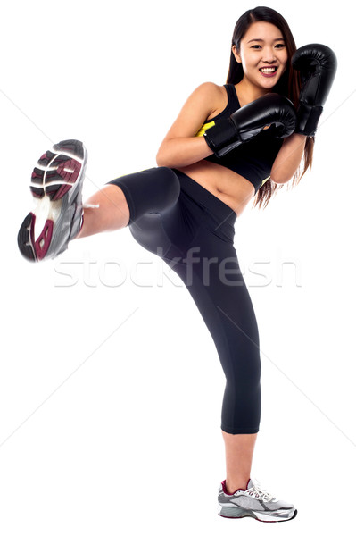 Fitt karcsú lány rúgás box gyakorlat Stock fotó © stockyimages