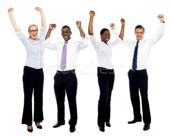 Portré boldog sikeres üzleti csoport teljes alakos fehér Stock fotó © stockyimages