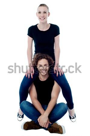 Foto stock: Menina · sessão · ombros · bonding · jovem