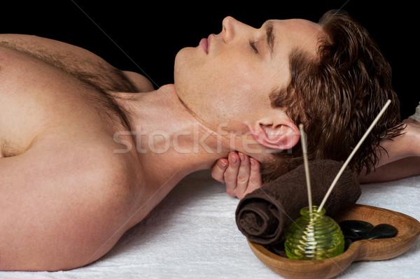 Сток-фото: массажист · шее · массаж · человека · расслабляющая · назад