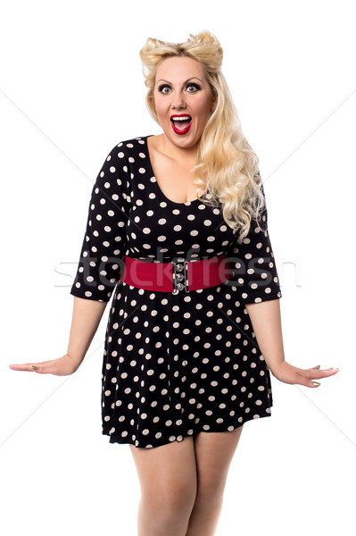 Vay sevimli elbise şaşırmış kadın Stok fotoğraf © stockyimages