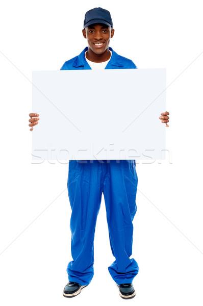 Corriere ragazzo bianco cartellone Foto d'archivio © stockyimages