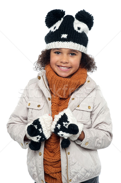 Portrait of a lovely little girl in winter outfit Stock photo © stockyimages