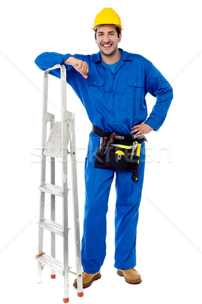Construction worker with step ladder Stock photo © stockyimages