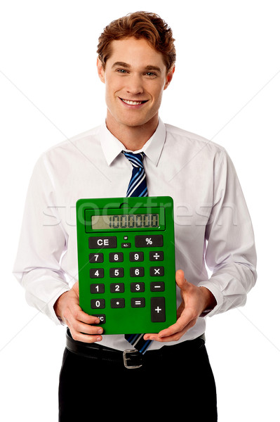 ストックフォト: 企業 · 男 · ビッグ · 緑 · 電卓