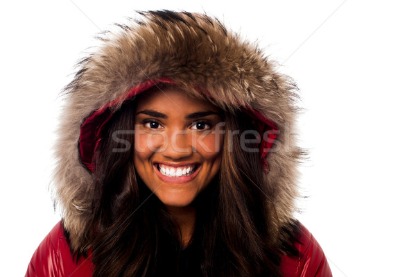 Pretty young girl in fur hood Stock photo © stockyimages