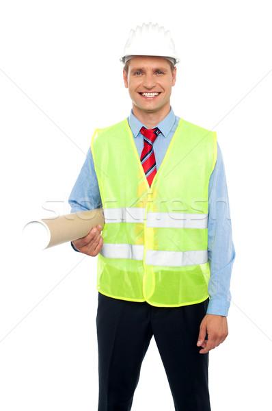 Stockfoto: Gelukkig · mannelijke · architect · blauwdrukken