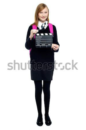 Aranyos iskolás lány kész következő lövés iskola Stock fotó © stockyimages