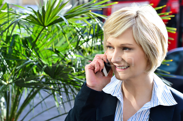 Stock photo: Woman attending a business call