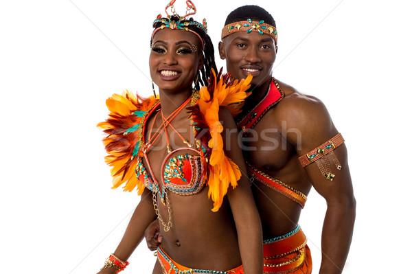 Idő ünneplés boldog szamba táncosok pózol Stock fotó © stockyimages
