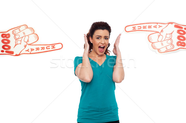 Woman shouting loud, stuck in between Stock photo © stockyimages