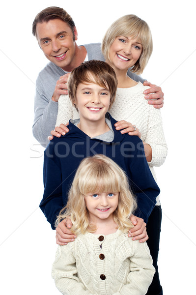 Compleet familie dochter zoon moeder vader Stockfoto © stockyimages