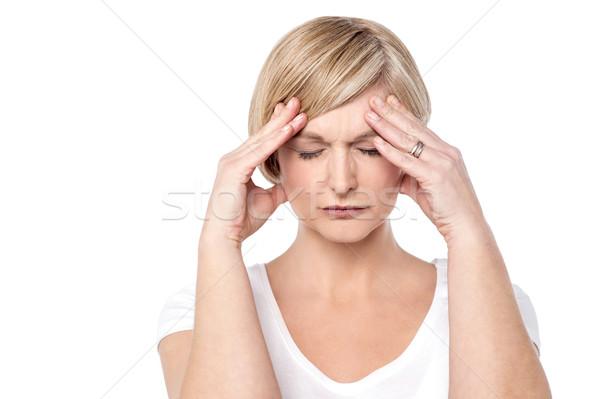 Mój głowie uczucie straszny zmartwiony kobieta Zdjęcia stock © stockyimages