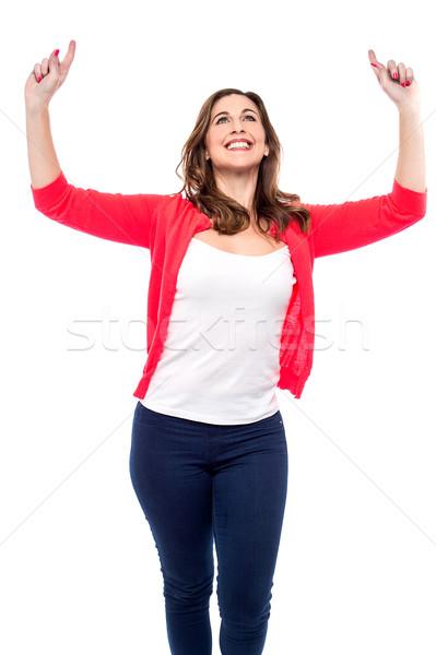 Tijd viering gelukkig vrouw vieren Stockfoto © stockyimages