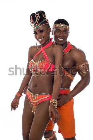 Stock fotó: Afrikai · karnevál · táncos · pózol · szamba · nő