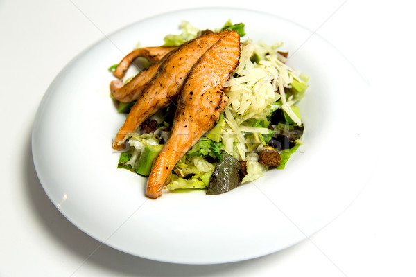 Grilled salmon steak with herbs and vegetables Stock photo © stockyimages