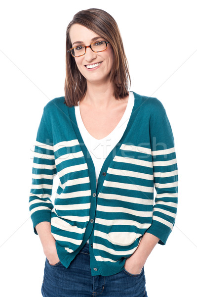 Smiling female model in trendy casuals Stock photo © stockyimages