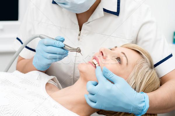 Kadın hazır diş beyazlatma kadın hasta tedavi Stok fotoğraf © stockyimages