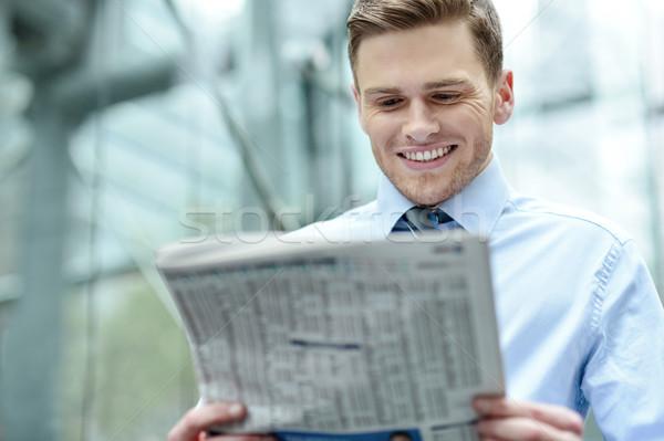 Uitvoerende poseren tijdschrift afbeelding gelukkig corporate Stockfoto © stockyimages