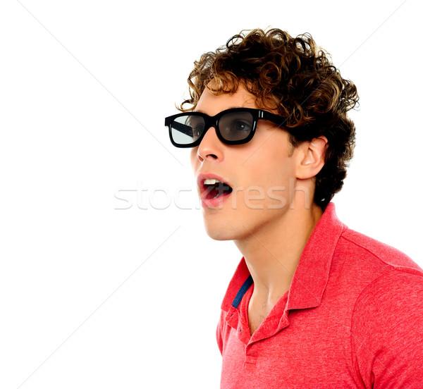 Portrait of shocking smart guy Stock photo © stockyimages