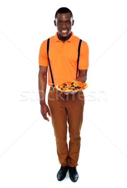 Foto stock: Retrato · entrega · menino · pizza · isolado