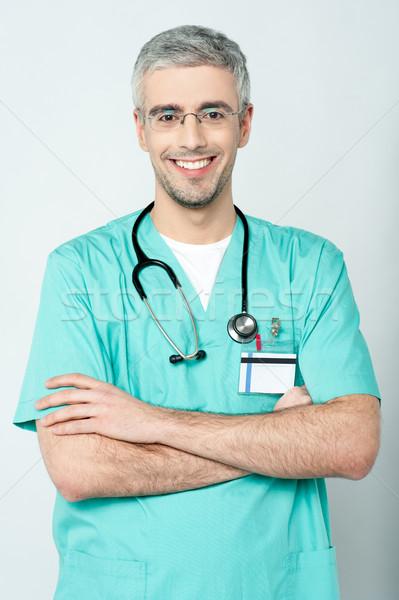 Foto stock: Sorridente · médico · senior · médico · estetoscópio