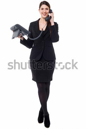 Foto d'archivio: Ciao · help · femminile · segretario · parlando · telefono