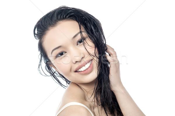 Bella capelli bella donna capelli lunghi bianco Foto d'archivio © stockyimages