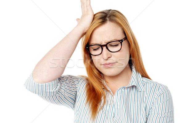 Cosa errore donna mano testa Foto d'archivio © stockyimages