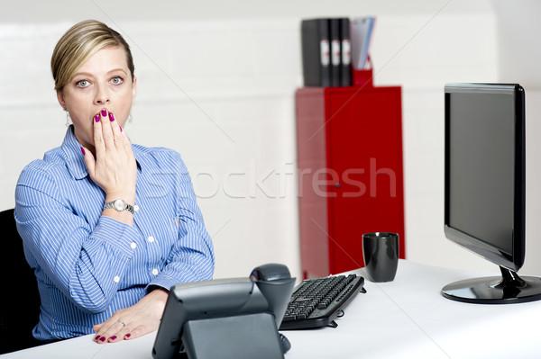Enyém Isten rossz hírek megrémült üzletasszony kifejez Stock fotó © stockyimages