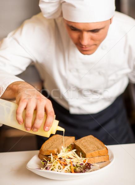 Mayonez sos sebze salata şef Stok fotoğraf © stockyimages