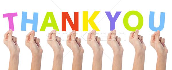 Mãos colorido palavra obrigado muitos Foto stock © stockyimages
