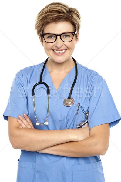 Perfil tiro alegre femenino médico Foto stock © stockyimages
