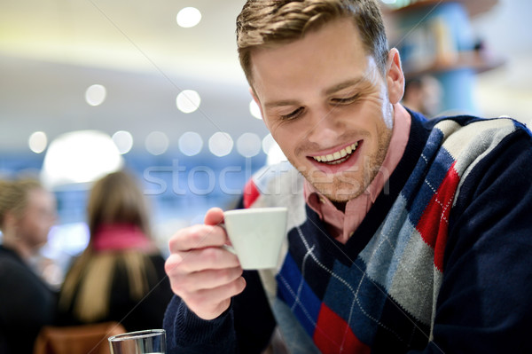Casual man in cafe with coffee Stock photo © stockyimages