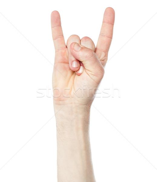 Człowiek strony rock toczyć podpisania Zdjęcia stock © stockyimages