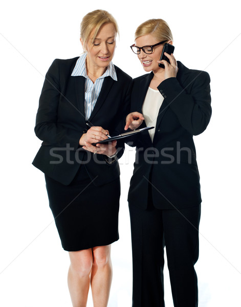 Two females looking at progress report and discussing Stock photo © stockyimages