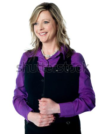 Entreprise femme documents souriant caméra Photo stock © stockyimages